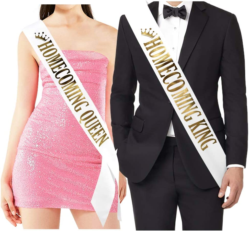 """Homecoming King"" and""Homecoming Queen"" Sashes - Homecoming Party Prom Sashes School Party Accessories, White with Gold Print"