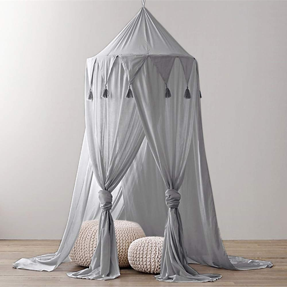 Vibola Baby Mosquito Net, Bed Round Dome Canopy Cotton Linen Tassel Mosquito Net for Kids (Gray)