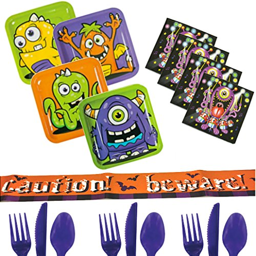 Halloween Party Supplies For 16 - Monster Plates & Napkins, Cutlery, Beware Caution Banner - Little Monsters Trick or Treat Party Pack - Toddlers, Boys, Girls, Kids, Adults Bundle