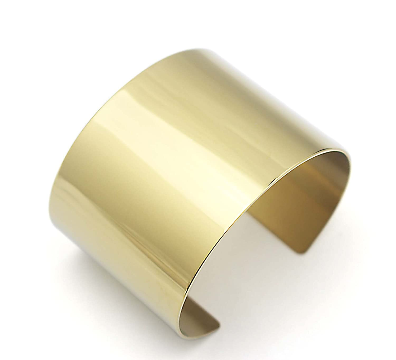 42cfd2a1c6aaf Amazon.com  COUYA Gold Plated Stainless Steel Wide Cuff Bracelet Punk Big  Plain Bangle for Women Lady  Jewelry