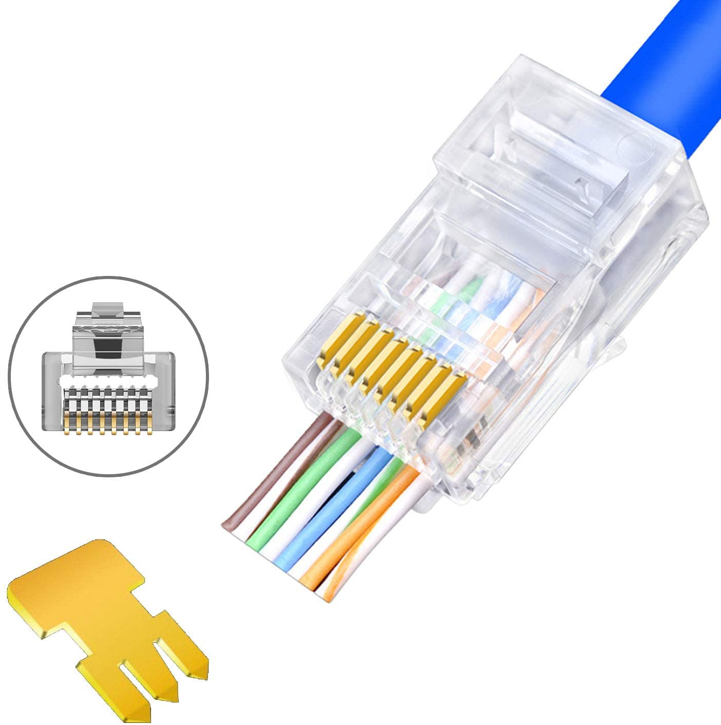 40AWG RJ40 Cat40 Cat40e Connectors   Pass Through Connector Gold Plated 40  Prong 40P40C Modular Plugs  400Pack