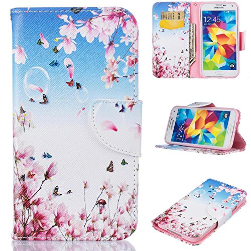 fish Kickstand PU Leather Wallet Case with Card Slots [Scratch-Resistance] Magnetic Closure Slim Bumper Cover for Samsung Galaxy S5 -Flower-C ()