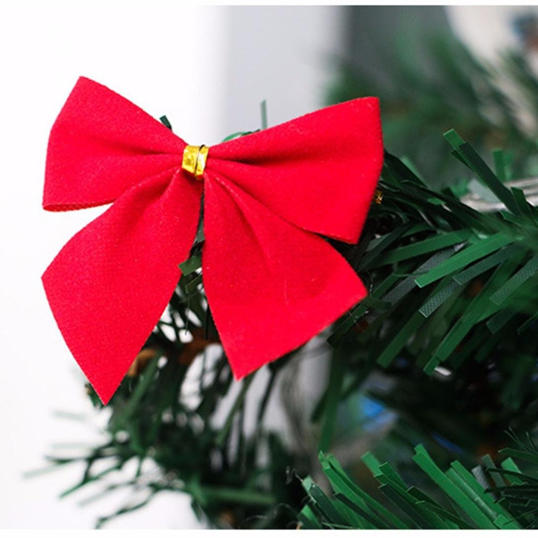 12pcs New Christmas Decoration Bowknot Christmas Tree Embellishment Gift, LLguz Happy Christmas Pendant Door Decorations Xmas Hanging Pendant Home Decoration Gifts (Red)