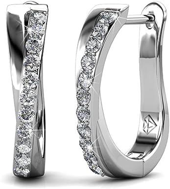 f93785d29 Cate & Chloe Amaya Adventurous 18k White Gold Plated Hoop Earrings with Swarovski  Crystals, Sparkling