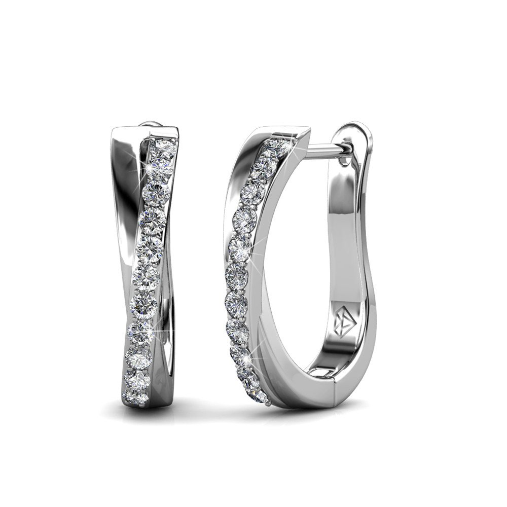 Cate & Chloe Amaya Adventurous 18k White Gold Hoop Earrings with Swarovski Crystals, Sparkling Silver Twisted Hoops Earring Set w/Solitaire Round Cut Diamond Crystals, Anniversary Jewelry - MSRP $119