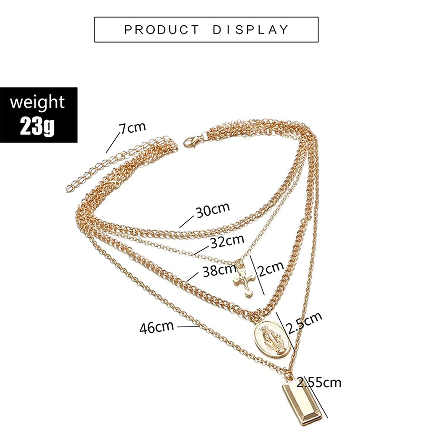 AMDXD Jewelry Beach Necklace Women Gold Virgin Mary Cross Shape 4 Layer Necklace Retro Necklace for Women