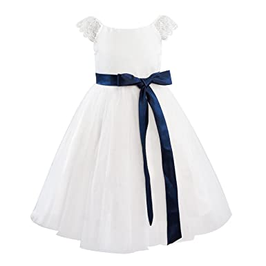 Amazon dresslane ivory lace tulle cap sleeves flower girl dress dresslane ivory lace tulle cap sleeves flower girl dress kids dressnavy blue sash mightylinksfo