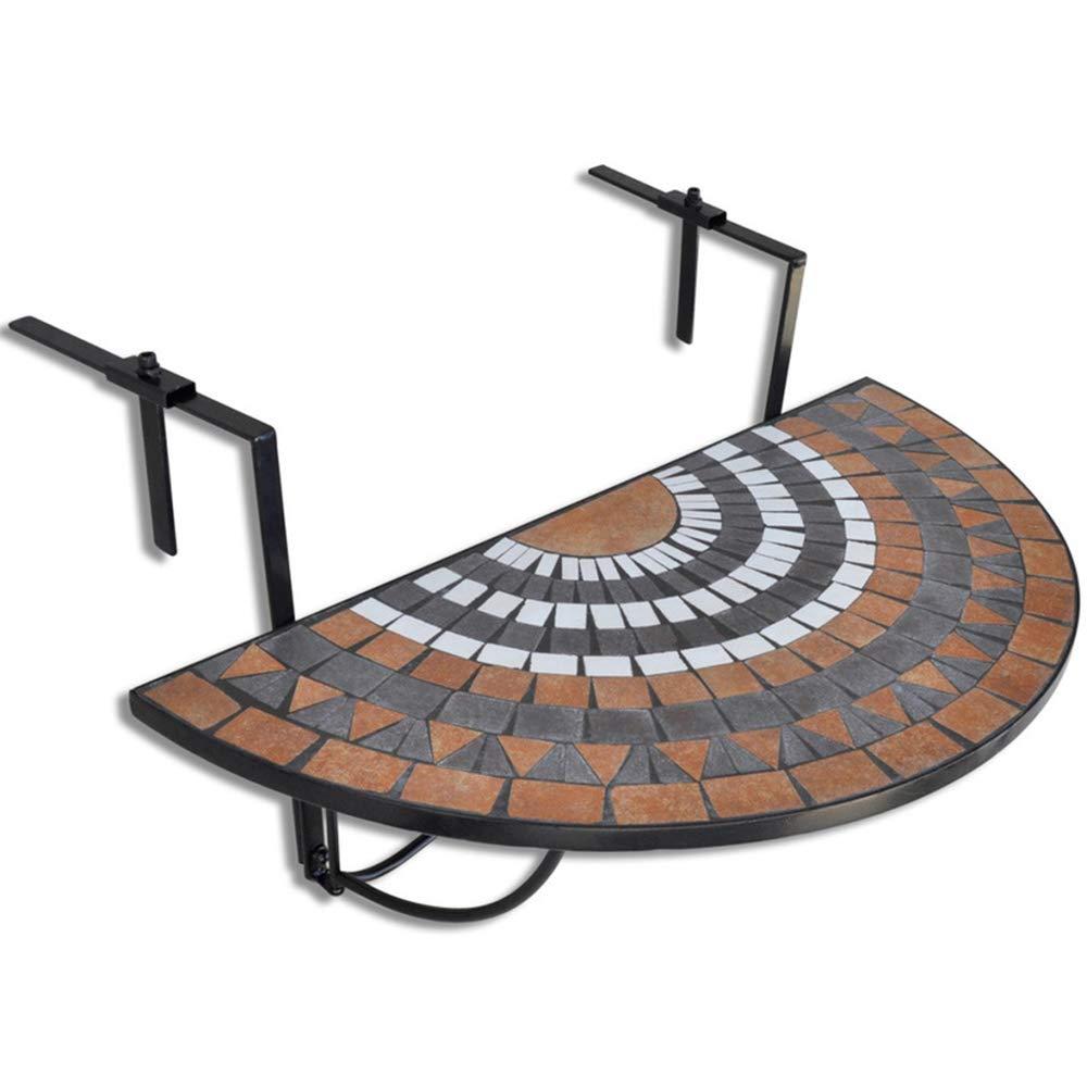 LJNYF Balcony Leisure Table,Iron semi-Circular Table,Balcony Table Hanging Semi-Circular 765664 cm Wall Table by LJNYF