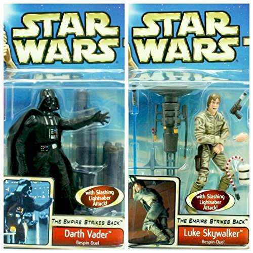 Army Builder DARTH VADER & LUKE SKYWALKER I Am Your Father 2-Pack * The Empire Strikes Back / Bespin Duel * 2002 STAR WARS Action Figure Set (Empire Builder Set)