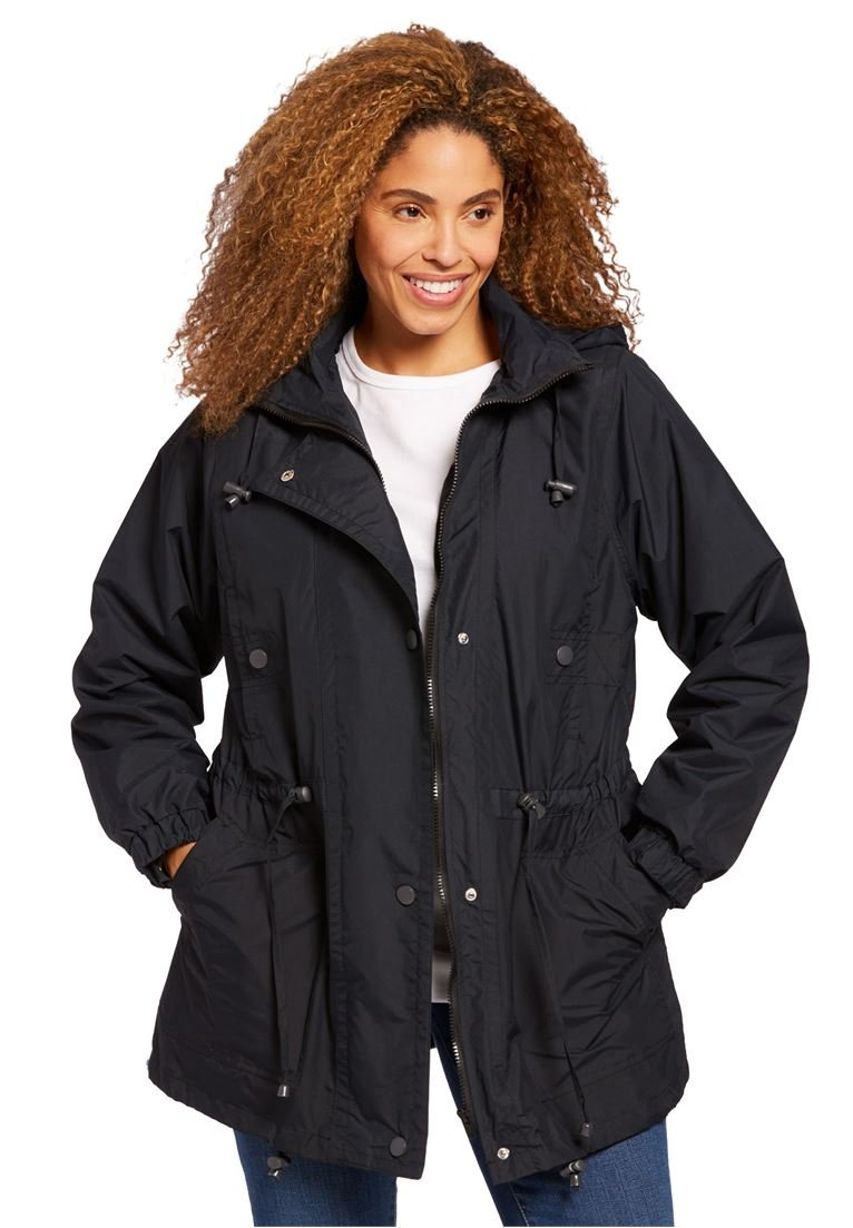 Woman Within Plus Size Fleece-Lined Taslon Anorak - Black, L