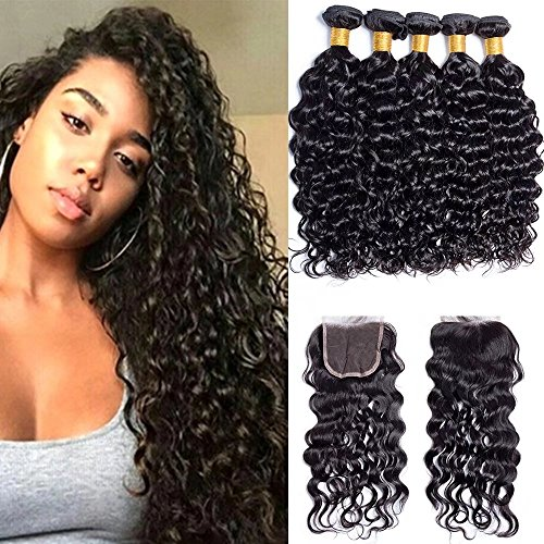 Maxine 9A Malaysian Virgin Hair Bundles with Closure Water Wave 3 Bundles With Free Part Closure Wet And Wavy Virgin Human Hair Weave Natural Black(20 20 20with 18)