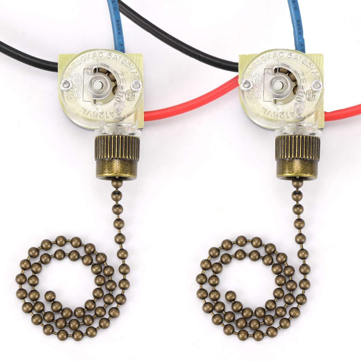 Ceiling Fan Switch Hunter Zing Ear ZE-110 Ceiling Fan Light Switch 3 Way 3-Wire Replacement Pull Chain Switch(2 Pack, Bronze)