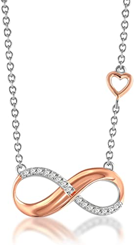 24K Gold Plated Sterling Silver Infinity Love /& Crystal Pearl Necklace