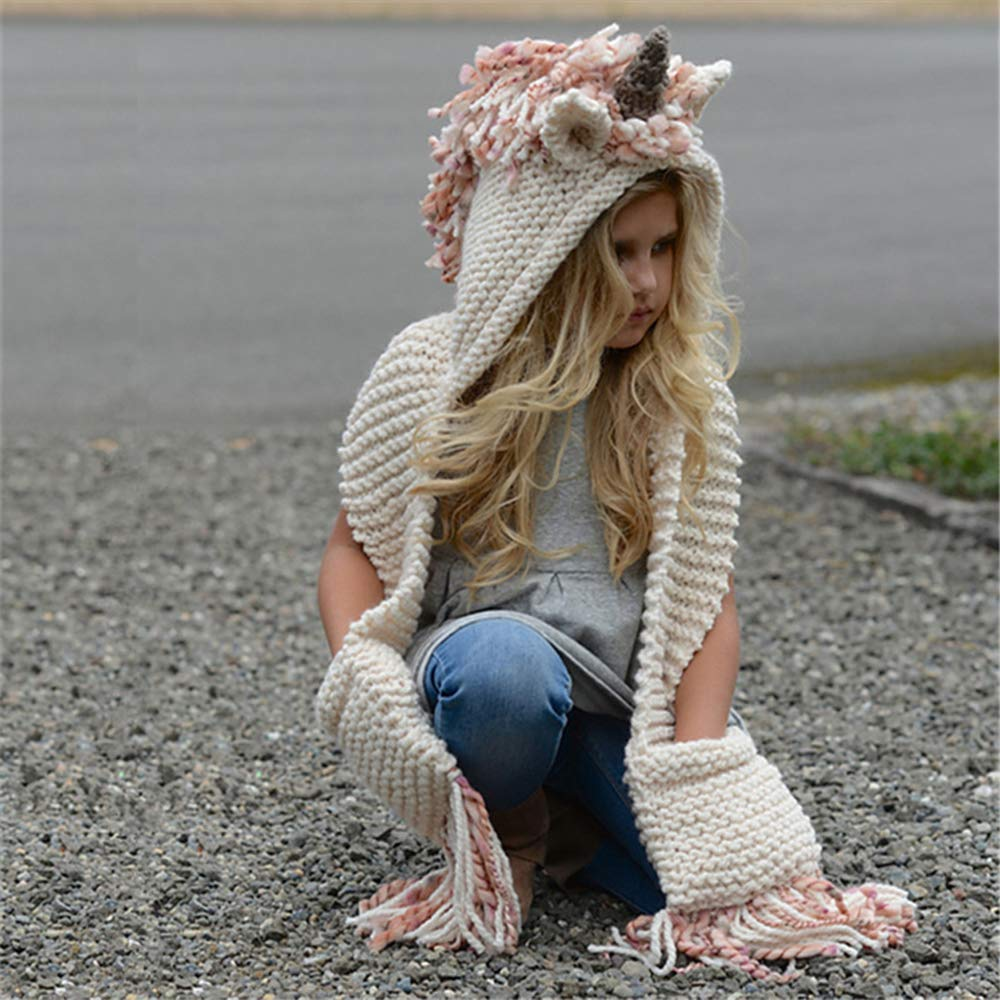 a7cbb05688e Girls Unicorn Hat Unicorn Gifts for Girls Hat Scarf Gloves Children Winter  Warm Hooded Pink Hat Scarf Set  Amazon.co.uk  Clothing