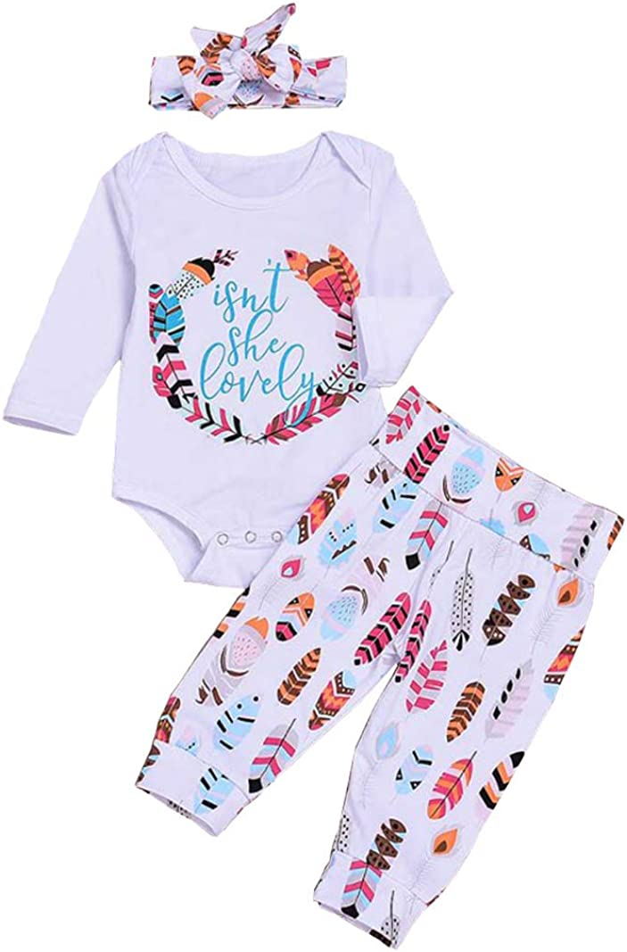 Baby Girls Long Sleeve Bodysuits Floral Pants Headband 3pcs Outfit