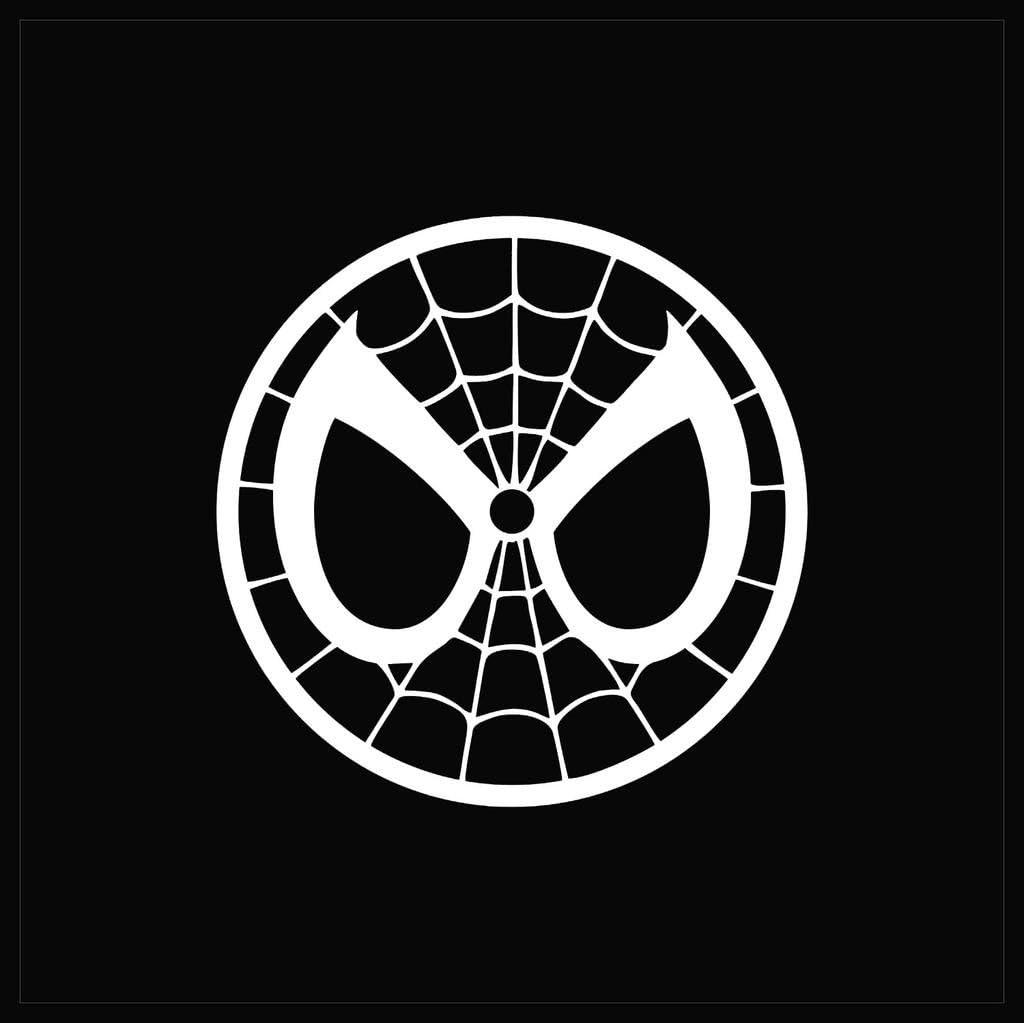 CCI Spider Man Mask Spiderman Face Decal Vinyl Sticker|Cars Trucks Vans Walls Laptop| White |5.5 x 5.5 in|CCI1332
