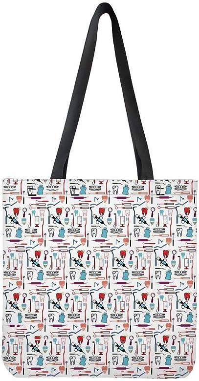 POLERO Nurse Bolsa de la compra, lona de algodón, bolsa de la compra, bolsa de tela, bolsa de algodón con estampado de dibujos animados, para niña, mujer, enfermera, trabajo diario, 42x34cm: Amazon.es: