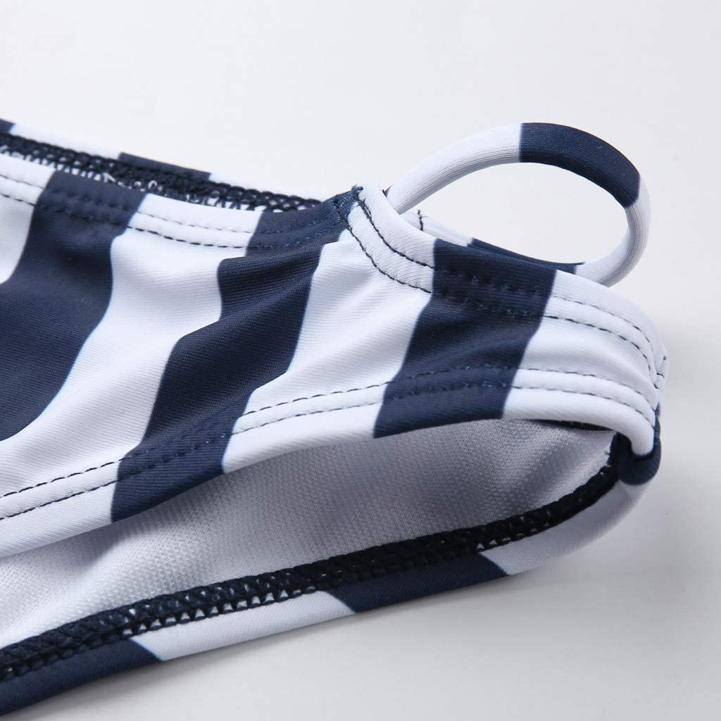 DOLDOA Women's Bikini Set Ladies Premium Push-up Halter Bandage Cross Wrap Push Up Top Two Piece Swimsuits Navy