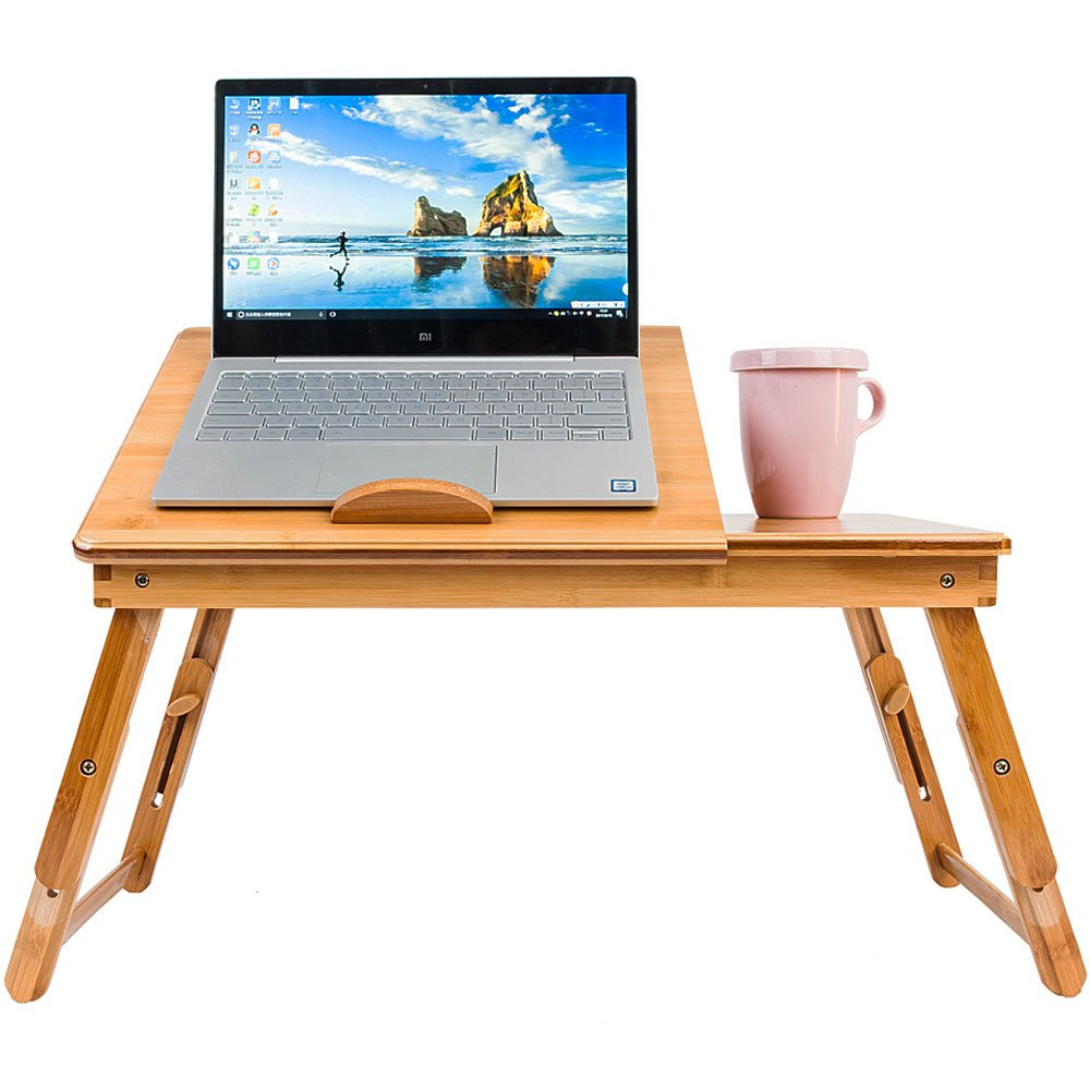 Portable Bamboo Laptop Desk Table Folding Breakfast Serving Bed Tray with Drawer table (Double Flower with Cup Tray)