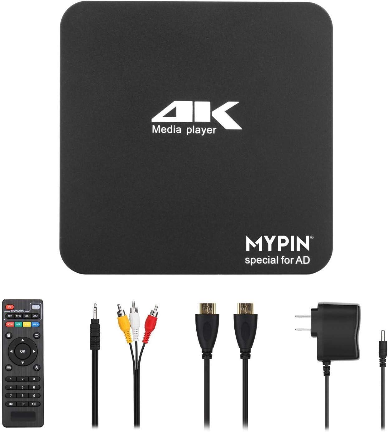 MYPIN Reproductor multimedia digital 4K Ultra-HD Entrada 2USB Salida HDMI AV PPT MKV AVI RMVB RM para HDTV con control remoto compatible con unidades USB y tarjetas SD