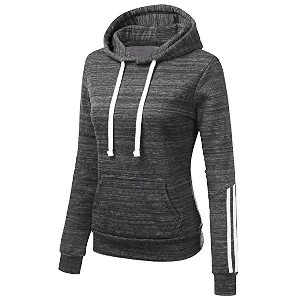 Blouses for Women Stripe Sweatshirt Long Sleeve Blouse Hooded Pocket Pullover Tops Shirts