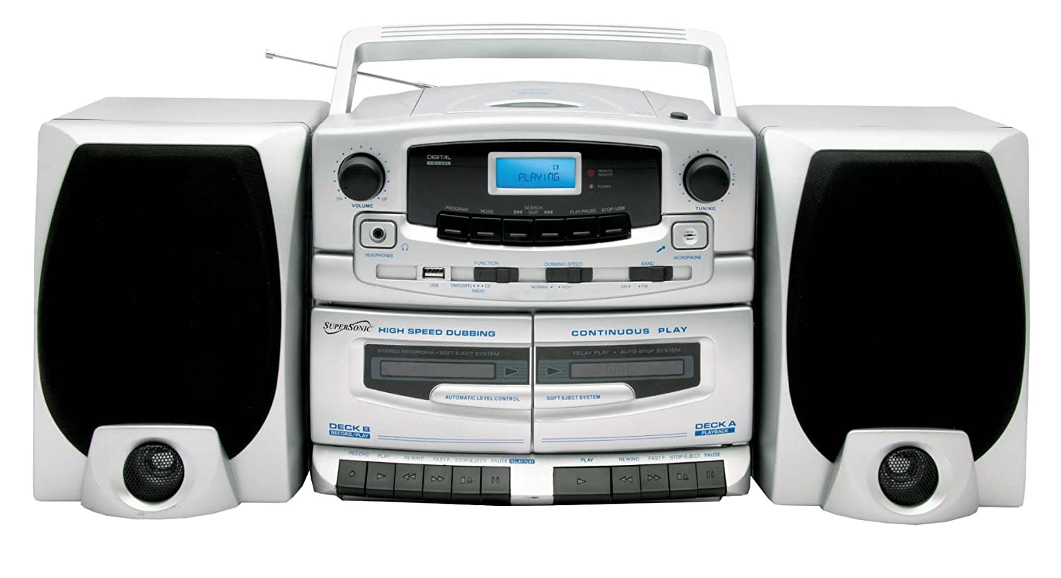 portable mp3 cd player dual cassette recorder am fm radio detachable speakers 639131020207 ebay. Black Bedroom Furniture Sets. Home Design Ideas
