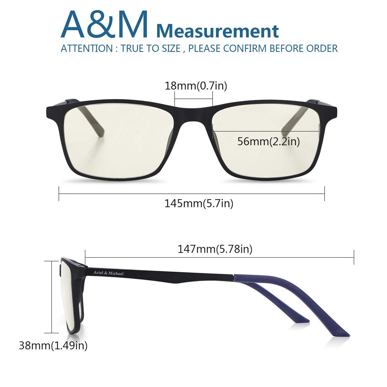 Gafas para Bloquear el Dolor de Cabeza por Rayos Ultravioleta M/&A Gafas de Ordenador Gafas Lectura para Protecci/ón contra Luz Azul Material TR90 Marco Ultraligero Azul