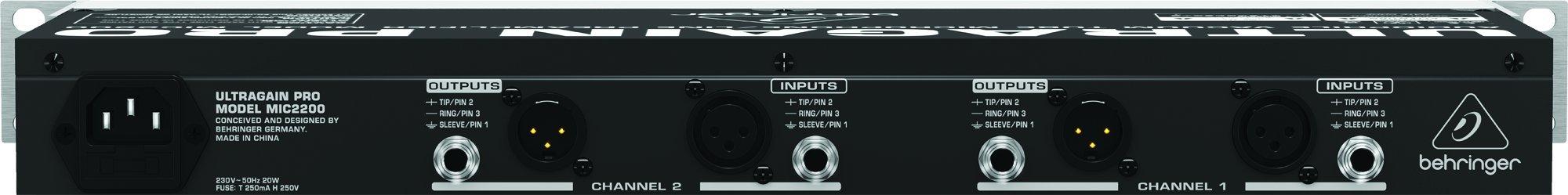 Behringer Ultragain Pro MIC2200 Audiophile Vacuum Tube Microphone/Line Preamplifier
