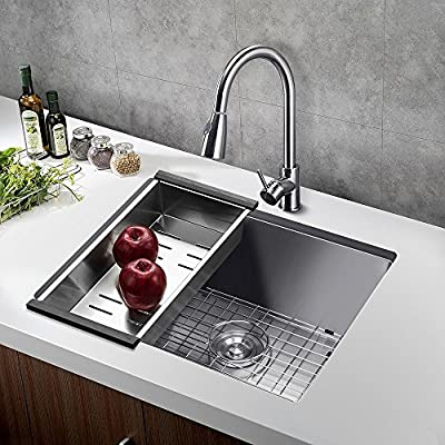 Kitchen Sink 321910 Inch 11-gauge Lips Easy Drain Stainless Steel Single Bowl with Solid Bottom Grid, Vegetable Basket, Soap Dispenser and Sink Strainer Bar Undermount… … … …