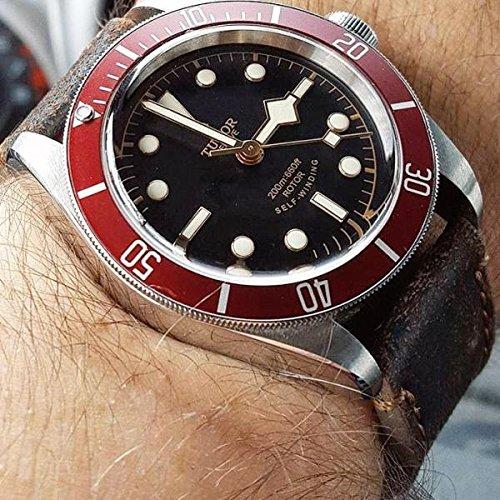 Custom 21mm Handmade Premium Calf Leather Watch Band Gunny Straps - Blackbay