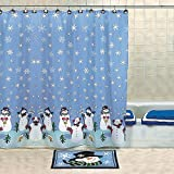OTC Snowman Christmas Holiday Winter Fabric Shower Curtain, 70-Inches