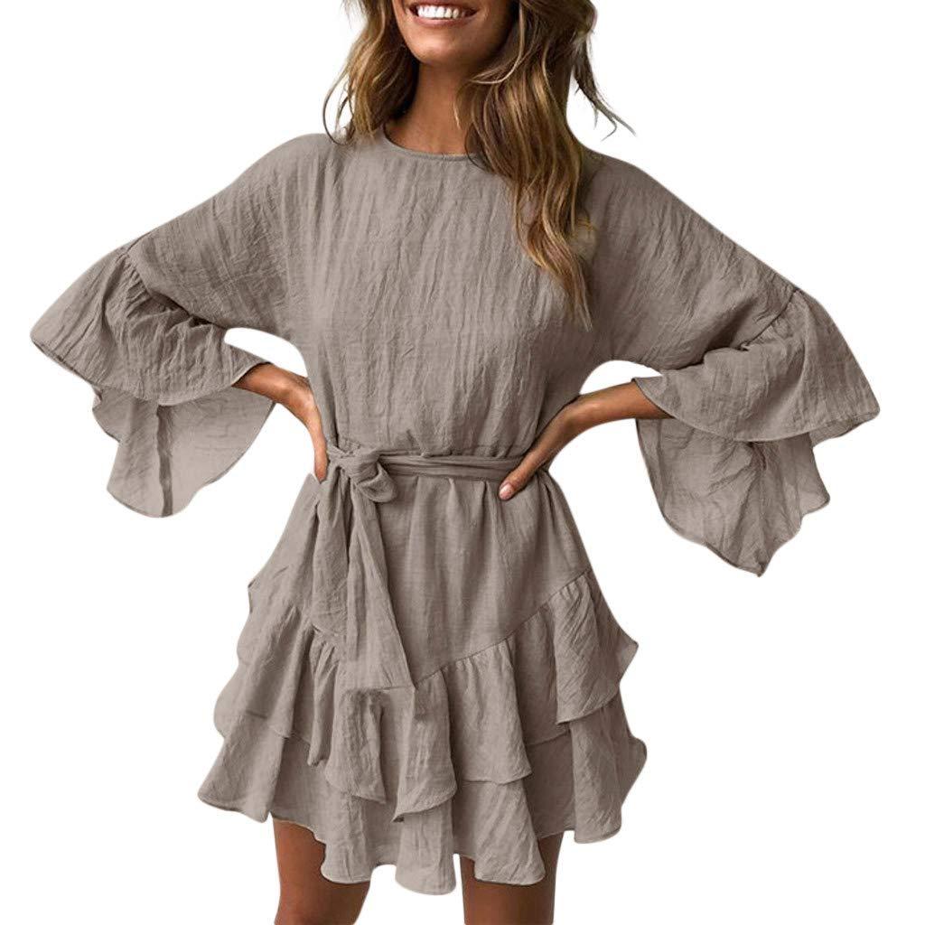 Geetobby Women Casual Dress Elegance O-Neck Ruffles Loose Mini Dress with Belt by Geetobby Women's Dress