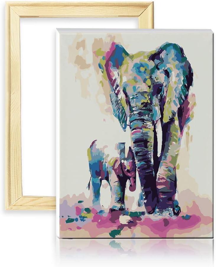 decalmile Pintura por Número de Kits DIY Pintura al óleo para Adultos Niños Colorido Elefantes Padre e Hijo 16