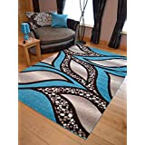 Super Verso Teal Brown Modern Hand Carved Dense Rug. Available in 6 sizes (80cm x 150cm) by Rugs Supermarket