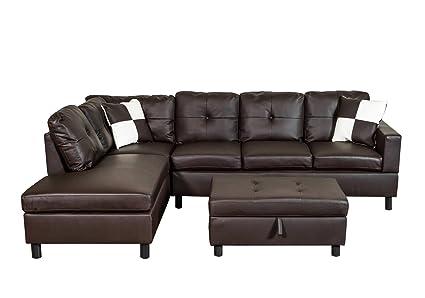 Amazon.com: Legend 3 Piece Faux Leather Sectional Sofa Set ...