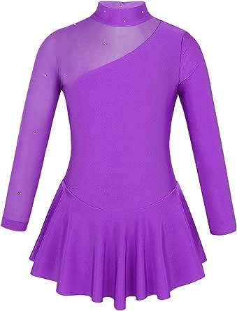 YOOJIA Kids Girls Backless Gymnastic Leotard Dress Mesh Splice Figure Ice Skating Jumpsuit Ballet Dance Activewear