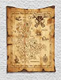 Ambesonne Map Tapestry Island Decor, Super Detailed Treasure Map Grungy Rustic Pirates Gold Secret Sea History Theme, Wall Hanging Art for Bedroom Living Room Dorm, 40 x 60 Inches, Beige and Brown Review
