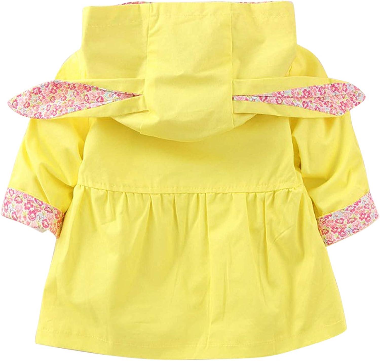 Evelin LEE Kids Girls Cute Spring Fall Outwear Jacket Hooded Windbreaker Trench Coat