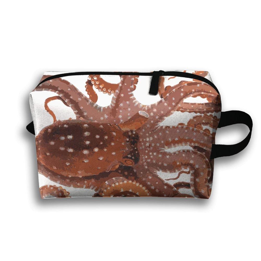 Cute Octopus Small Travel Toiletry Bagスーパーライトトイレタリーオーガナイザー一泊旅行用バッグ B07B3PK14S