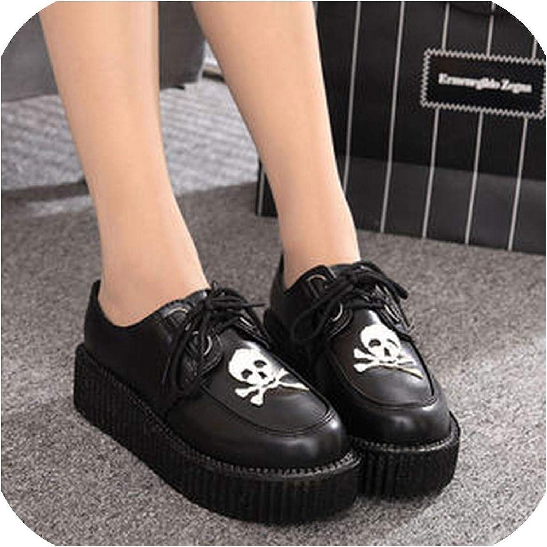 Woman Plus Size 35-41 Women Shoes Plus Size Ladies Platform Shoes Women Flats Female Shoes,Skull