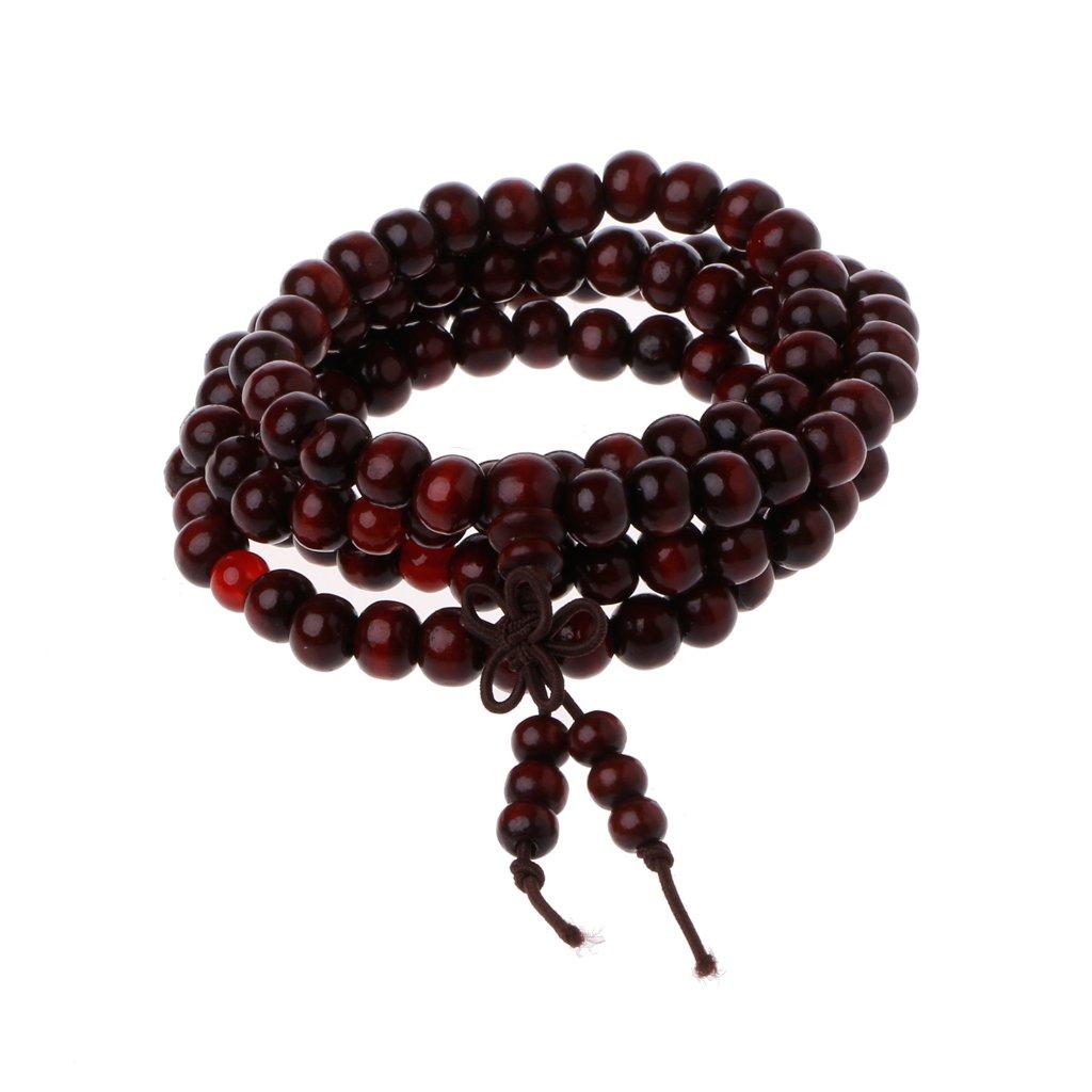SimpleLif 108 Prayer Wood Beads Mala Bracelet-Natural Sandalwood 8mm Beads Bracelets-Natural Wood Tibetan Buddhist Buddha Meditation Necklace