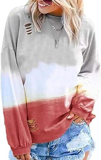 ShuangRun - Camiseta de Manga Larga para Mujer, Color Degradado, diseño Hippie Rojo Rojo Vino M: Amazon.es: Ropa y accesorios