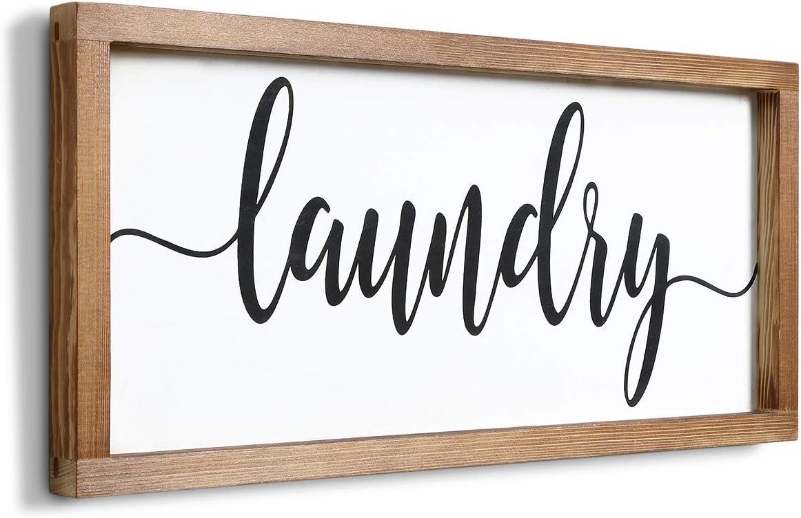 Mokof Laundry Sign, Farmhouse Laundry Wood Sign for Laundry Room Wall Decor (Frame, 17'' X 8'')