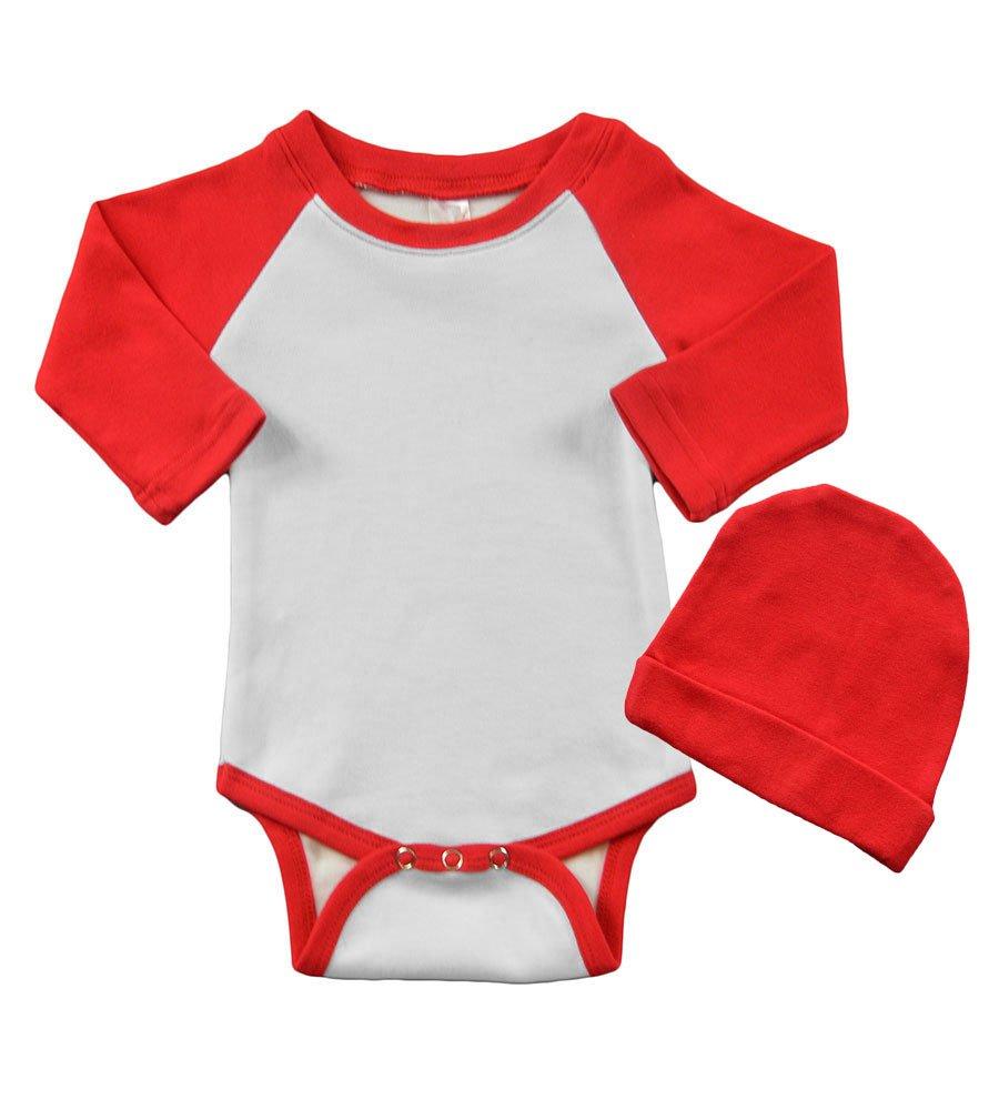 Long Sleeve Raglan Bodysuit & Cap Set, 3-6M White/Red