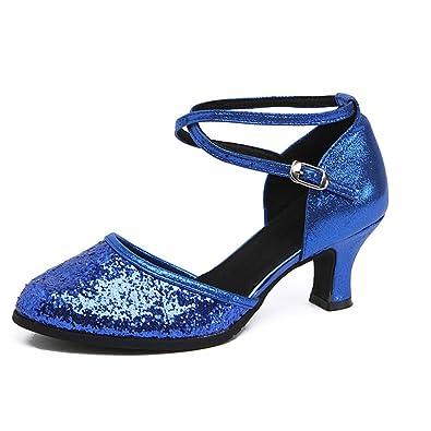 WYMNAME Womens Latin Tanzschuhe,Mittleren Heels Quadratische Freundschaft Tanzschuhe Sandale Moderner Tanzschuhe-Golden Fußlänge=24.8CM(9.8Inch)