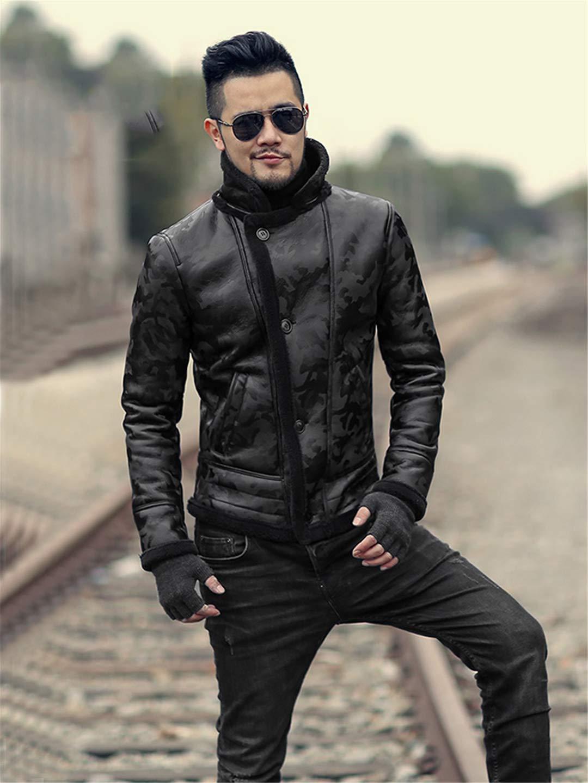 0b13214f5fe Running Black Men Winter Warm Camouflage Lamb Woolen Casual Jacket Faux  Leather Jacket Coat European Style JaoKnam