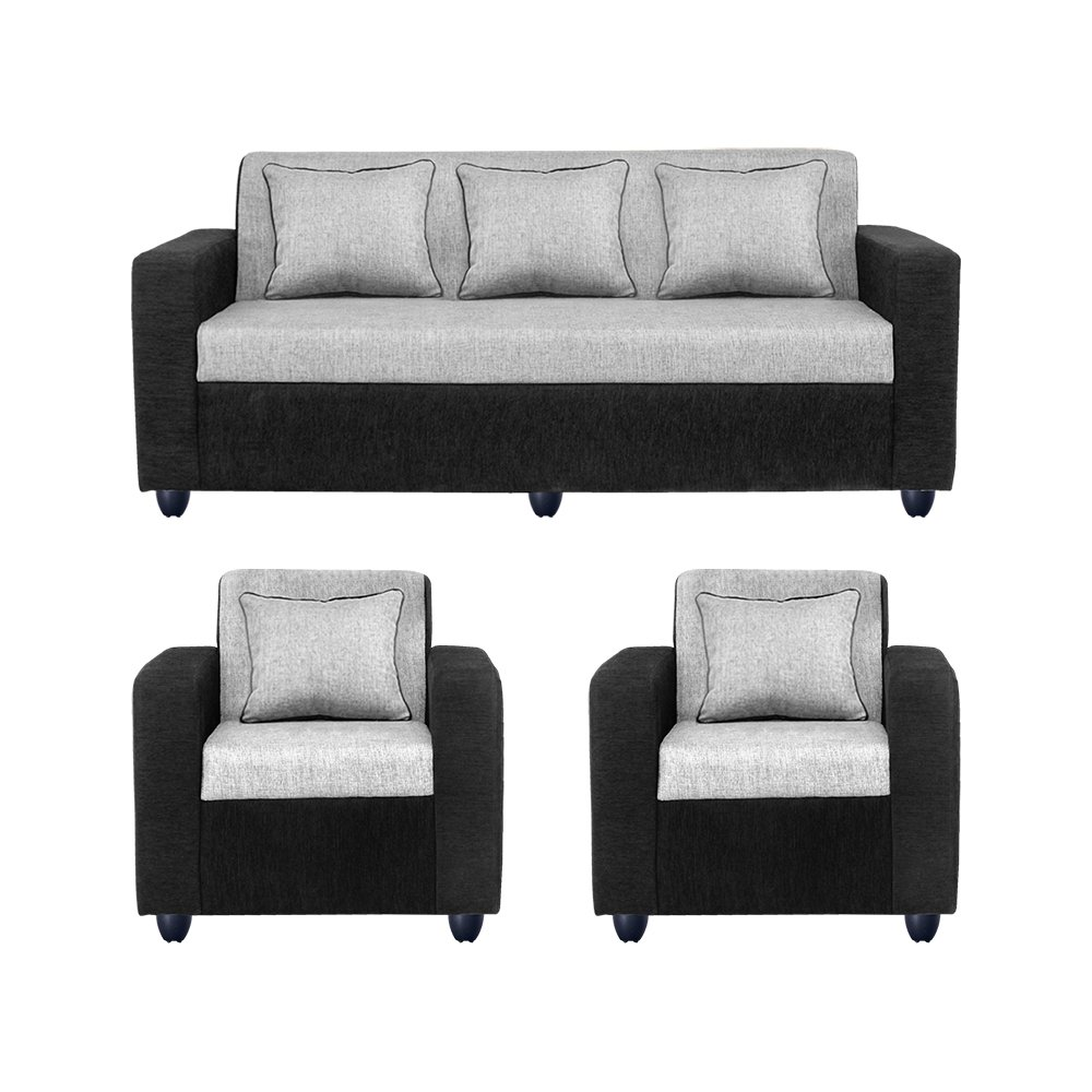 Bharat Lifestyle Tulip Fabric 3+1+1 Sofa Set Black Grey Part 78