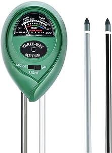 Soil pH Meter, Plant Moisture Sensor, 3-in-1 Soil Moisture/Light/pH Test Kit for Potted Plants, Vegetables, Garden, Lawn, Farm, Indoor/Outdoor Plant Care