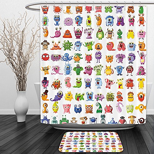 Sea Monster Costume Patterns (Vipsung Shower Curtain And Ground MatFunny Decor Collection Little Fictional Fantasy Cartoon Characters Fun Monsters Costumes Robots Toys Aliens Kids Theme MultiShower Curtain Set with Bath Mats Rugs)