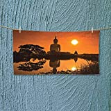 Nalahome Lightweight Towel Big Giant Statue by The River at Sunset Thai Asian Culture Scene Yin for Home, Hotel and Spa L27.5 x W11.8 inch
